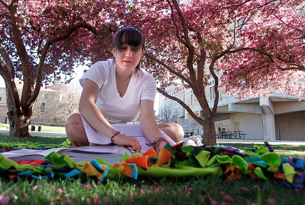 "Amanda Roper, a freshman, does some homework after spending spring break in Denver with her family Sunday, April 1, 2012. Boulder. <br />  For more photos of the game visit  <a href=""http://www.dailycamera.com"">http://www.dailycamera.com</a><br /> Photo by Derek Broussard"