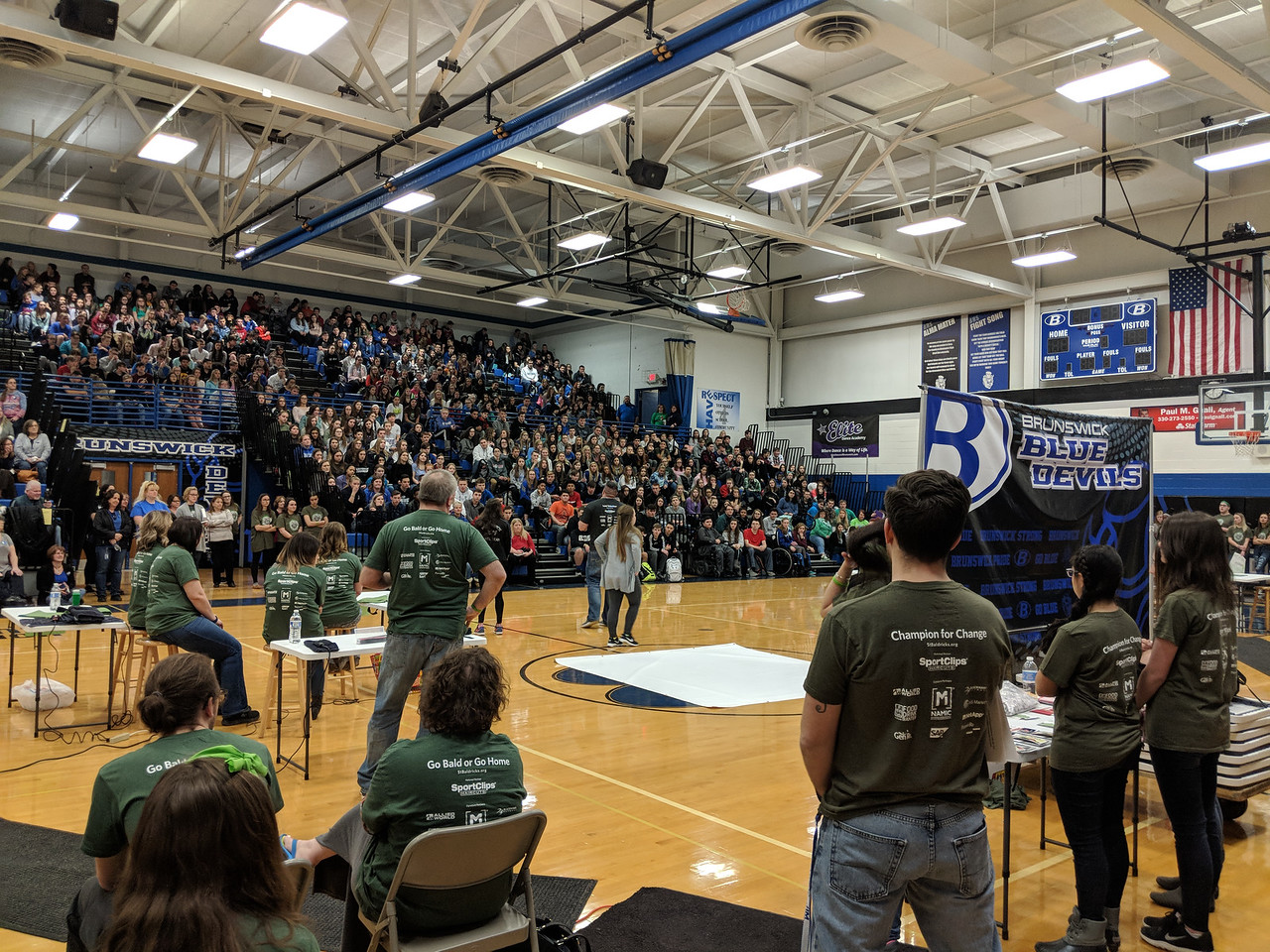 Students, faculty and community members gather for the second annual St. Baldrick's Day fundraiser