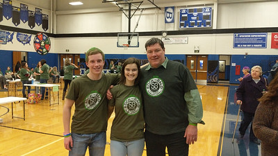 Pictured left to right are high school students, Kevin Gabriel and Gabby Foust with Superintendent Michael Mayell.