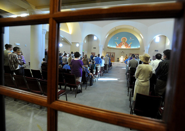 """People listen to the sermon on Sunday at the St. Luke Orthodox Christian Church.<br /> For more photos of the church, go to  <a href=""""http://www.dailycamera.com"""">http://www.dailycamera.com</a>.<br /> Cliff Grassmick / September 5, 2010"""