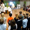 BEN GARVER — THE BERKSHIRE EAGLE<br /> Students at St. Mary's School in Lee celebrate Mass for Catholic Schools Week with Bishop Mitchel Rozanski, Father Brian McGrath and Deacon Jim McElroy, Friday, February 1, 2019.