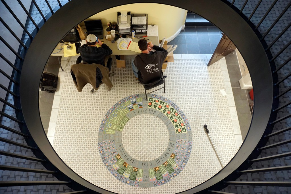 . Workers use the bottom floor of the Stockbridge Library as a makeshift office. The Stockbridge Library is nearing completion and has a certificate of occupancy, Tuesday, March 16, 2016. Ben Garver � The Berkshire Eagle | photos.berkshireeagle.com