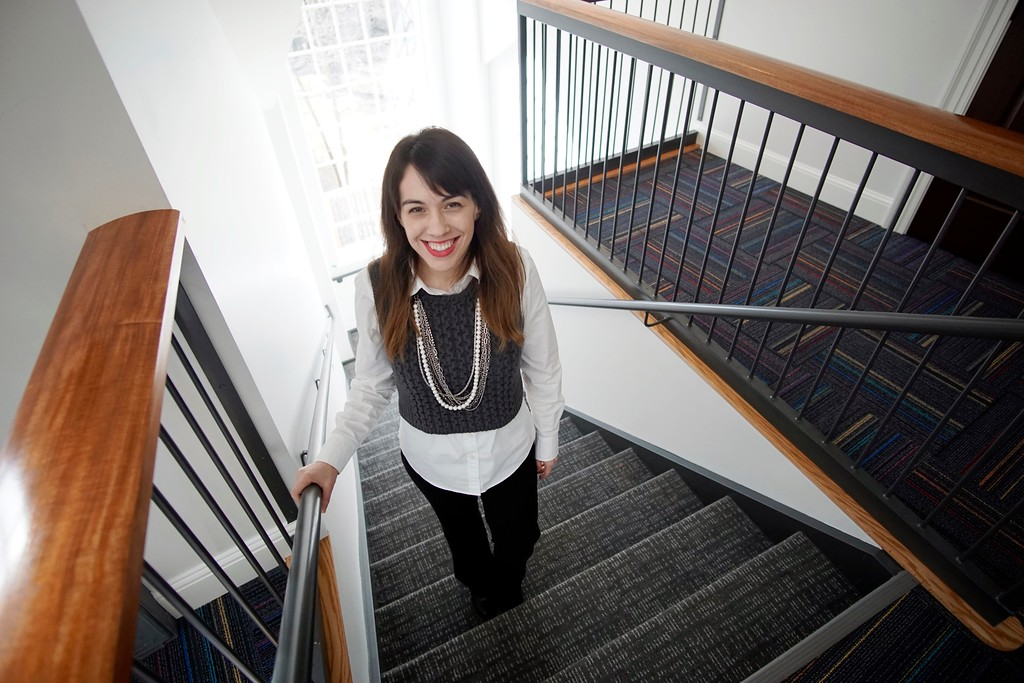 . Library Director Katherine Ruth O\'Neil stands in the bright, new stairwell in the Stockbridge Library. The Stockbridge Library is nearing completion and has a certificate of occupancy, Tuesday, March 16, 2016. Ben Garver � The Berkshire Eagle | photos.berkshireeagle.com