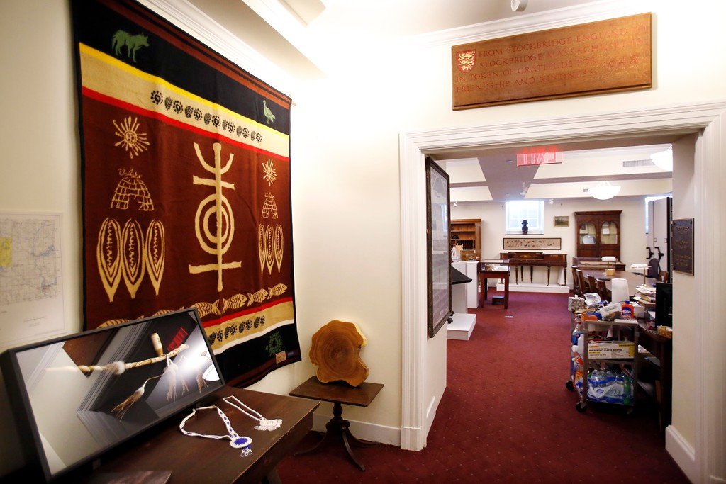 . The recent donations of a blanket and peace pipe, left, from the Stockbridge-Munsee tribe are on display at the Stockbridge Library Museum & Archives. As the final chapter of the $4 million renovation, the archive will celebrate its official reopening on Saturday, June 25. Thursday, June 23, 2016. Stephanie Zollshan � The Berkshire Eagle | photos.berkshireeagle.com