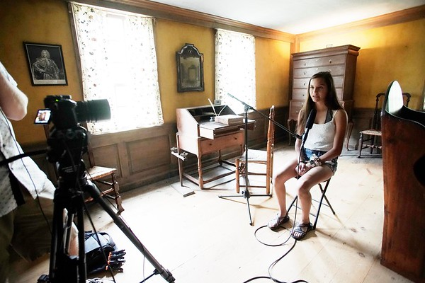 BEN GARVER — THE BERKSHIRE EAGLE<br /> Odessa Arce, a member of the Stockbridge-Munsee Mohican Tribal Community wind up her one-week visit to Stockbridge with final recordings for an online video tour of main street, Thursday, July 11, 2019.