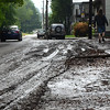 Gillian Jones/North Adams Transcript<br /> <br /> Mud and debris cover Massachusetts Avenue near the intersection of Wood Street in North Adams Thursday morning after a strong storm brought heavy rain to the region on Wednesday night.