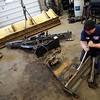 BEN GARVER — THE BERKSHIRE EAGLE<br /> Alan Havill repalces a broken plow mount at the Pittsfield, Mass. City Garage. Mechanics work at the Department of Public Works City Garage in Pittsfield at a brisk pace to prepare for what may be significant snowfall, Monday, March 13, 2017. The forecast is calling for anywhere between 8 and 24 inces of snowfall.