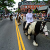 KRISTOPHER RADDER - BRATTLEBORO REFORMER<br /> Stephanie Larson, from the Meadowbrook Gypsies, in Townshend, Vt., dresses as Princess Leia while riding a horse down Main Street during the annual Strolling of the Heifers Parade, in Brattleboro, on Saturday, June 2, 2018.