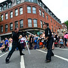 KRISTOPHER RADDER - BRATTLEBORO REFORMER<br /> Matt Hoffman, the rector of Ludosport Northern New England, gets in a light saber fight with Biz Hallett, the dean of Brattleboro's school of Ludosport, during the annual Strolling of the Heifers Parade, in Brattleboro, on Saturday, June 2, 2018.