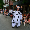 KRISTOPHER RADDER - BRATTLEBORO REFORMER<br /> Sara Kermenski, of Marlboro, dresses as a cow during the annual Strolling of the Heifers Parade, in Brattleboro, on Saturday, June 2, 2018.