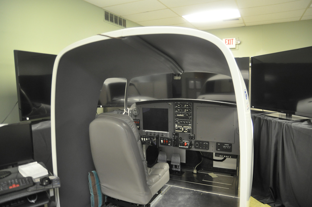ASHLEY FOX / GAZETTE The Wadsworth Municipal Airport has a flight simulator where aviation students learn about airplanes as they progress through their courses.