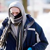 BEN GARVER — THE BERKSHIRE EAGLE<br /> Alan Griffin is covered for the cold on South Street in Pittsfield, Thursday, January 31, 2019.