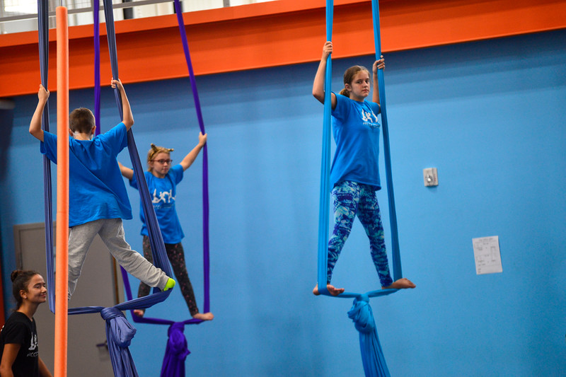 KRISTOPHER RADDER - BRATTLEBORO REFORMER<br /> Children put on a show for their parents during a summer camp at New England Center for Circus Arts' new trapezium building on Putney Road on Friday, July 14, 2017.