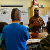 KRISTOPHER RADDER - BRATTLEBORO REFORMER<br /> Nick Neddo, a teacher of wilderness survival, talks to a class at Twin Valley High School during annual Artist in Residence program on Monday, Feb. 12, 2018.