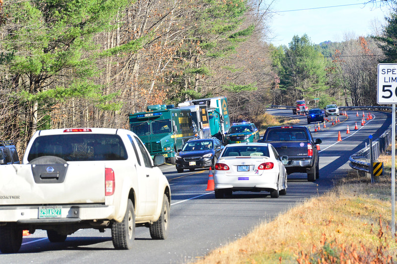 KRISTOPHER RADDER — BRATTLEBORO REFORMER<br /> Vermont State Police investigate a suspicious death on Route 103 in Bartonsville. The southbound lane was closed off to allow investigators to examine the scene.