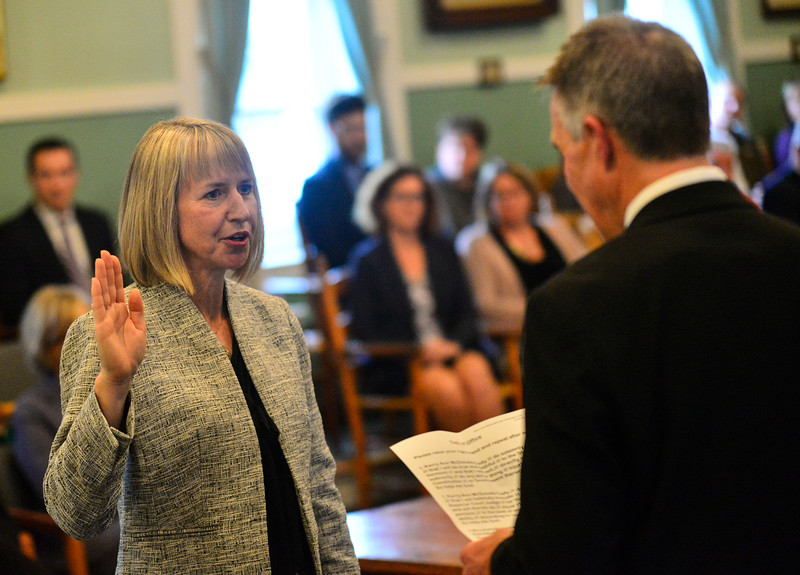 KRISTOPHER RADDER — BRATTLEBORO REFORMER<br /> Vermont Gov. Phil Scott swears in Kerry McDonald-Cady, from Dover, at the Windham County Civil Division Courthouse, in Newfane, Vt., on Wednesday, Oct. 30, 2019. McDonald-Cady will preside at Bennington and Rutland County Superior Court.
