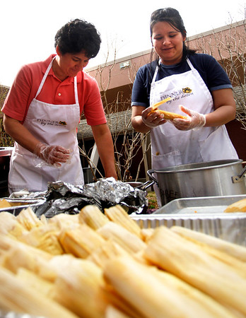 Fabiola Castanon, left,  and Socorro Rodriguez, volunteer their time at Pioneer Elementary School Saturday, March. 17, 2012, Lafayette. They helped in making over two-thousand tamales to raise money for the school.<br /> Derek Broussard/ Camera