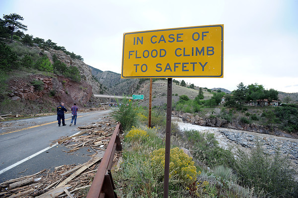 Flood damage along U.S. 34 along the Big Thompson Canyon seen Tuesday, September 17, 2013. (Photo by Jenny Sparks/Loveland Reporter-Herald)