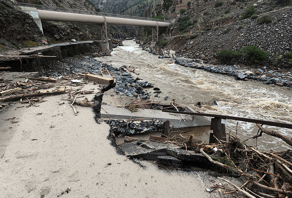 U.S. 34 at the mouth of the Big Thompson Canyon seen Tuesday, September 17, 2013, was washed away by the flood. (Photo by Jenny Sparks/Loveland Reporter-Herald)