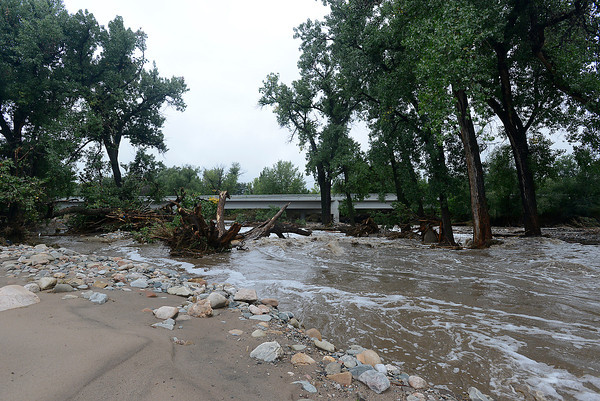 A view of Glade Park with the Big Thompson River running through where the parking lot used to be looking towards the U.S. 34 bridge in west Loveland on Sunday, September 15, 2013 west of Loveland. (Photo by Jenny Sparks/Loveland Reporter-Herald)