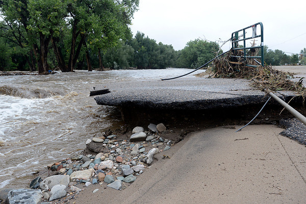 What is left of the parking lot at Glade Park after the Big Thompson River washed it away is seen in west Loveland on Sunday, September 15, 2013.  (Photo by Jenny Sparks/Loveland Reporter-Herald)