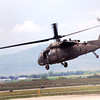 A Black Hawk helicopter takes off from the Fort Collins/Loveland Municipal Airport Saturday, Sept. 14, 2013 after refueling there before heading out to pick up residents stranded by recent flooding in the area. Seven Colorado Army National Guard along with several privately owned helicopters were used to shuttle people to evacuation shelters. (Photo by Steve Stoner/Loveland Reporter-Herald)