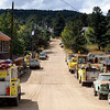 Fire trucks line the street of Gold Hill where volunteer fire fighters spent Wednesday night protecting the town from the Fourmile fire in Gold Hill, Colorado September 9, 2010.  Over 100 homes and structures have been destroyed since Monday. CAMERA/Mark Leffingwell (POOL)