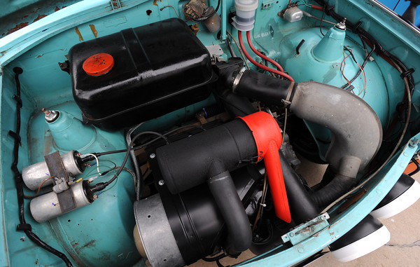 20120107_TRABANT_CARS_3.jpg The two-cylinder, two-cycle engine in Charlie Bigsby's 1966 Trabant. Photo taken Saturday Jan. 07, 2012.  (Lewis Geyer/Times-Call)