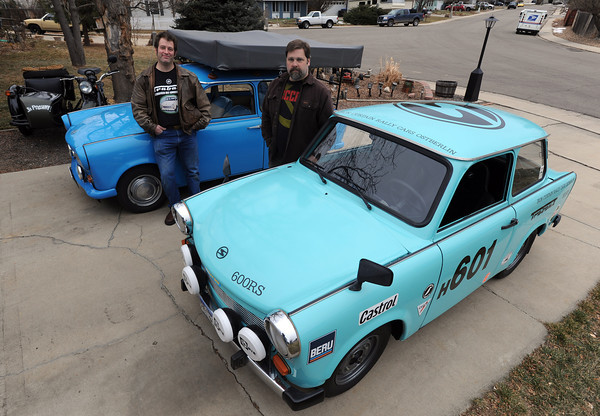 20120107_TRABANT_CARS_7.jpg Longmont residents Charlie Bigsby and John Short own Trabants. Over 3,000,000 of the East German cars were built beginning in 1957 and ending in 1991. Photo taken Saturday Jan. 07, 2012.  (Lewis Geyer/Times-Call)