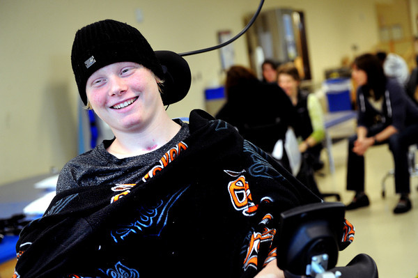 20111212-TylerHoog17.jpg.jpg Tyler Hoog laughs as he cracks a joke during an occupational therapy session at the Shepherd Spinal Center in Atlanta, GA on Monday, December 12, 2011. Hoog, a baseball player at Skyline High School, was left paralyzed from the neck down after a four wheeling accident in August.   (Jonathan Phillips Special to the Boulder Daily Camera)