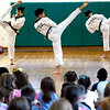 BEN GARVER — THE BERKSHIRE EAGLE<br /> The Kyundong University Taekwondo Demonstration Team, from South Korea, visited Allendale Elementary School in Pittsfield for show of skill, Monday, March 8, 2019. The team also visited Morningside School.  Both schools work with Master Son of U.S. Taekwondo in Pittsfield to learn about the sport and the educational values of taekwondo.  The demonstration  is sponsored by the World Taekwondo Education Foundation (WTEF.)