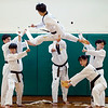 BEN GARVER — THE BERKSHIRE EAGLE<br /> A student from Kyundong University breaks five boards in one move in a demonstration.<br /> The Kyundong University Taekwondo Demonstration Team, from South Korea, visited Allendale Elementary School in Pittsfield for show of skill, Monday, March 8, 2019. The team also visited Morningside School.  Both schools work with Master Son of U.S. Taekwondo in Pittsfield to learn about the sport and the educational values of taekwondo.  The demonstration  is sponsored by the World Taekwondo Education Foundation (WTEF.)