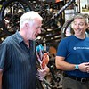 BEN GARVER — THE BERKSHIRE EAGLE<br /> Salesperson Jeff Minker (right) talks with avid hiker John Mckenney in the camping and bicycle section of the Arcadian Shop in Lenox, Wednesday, August 14, 2019. Outdoor gear other than clothing will be covered over the tax free weekend.