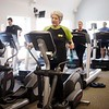 BEN GARVER - THE BERKSHIRE EAGLE<br /> Nancy Costerisan works out on a treadmill at Lenox Fit. Members of Lenox Fit and TK-Fit enjoy cross bebefits since bothe buisnesses operate under one roof.
