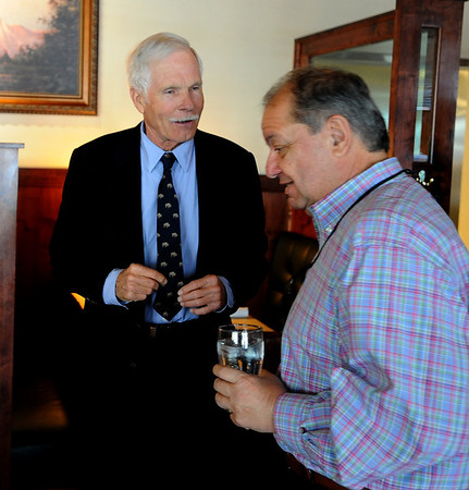 "Ted Turner greets George Karakehian at Ted's Montana Grill to talk about the bison preserve.<br /> Ted Turner visited his restaurant in  Boulder on Friday to announce the start of  a buffalo ranch and receive an award.<br /> For a video and more photos of Ted Turner, go to  <a href=""http://www.dailycamera.com"">http://www.dailycamera.com</a>.<br /> Cliff Grassmick / October 28, 2011"
