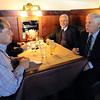 "Ted Turner, right, with George McKerrow, talks to George Karakehian at Ted's Montana Grill  about the proposed  bison preserve near Boulder<br /> Ted Turner visited his restaurant in  Boulder on Friday to announce the start of  a buffalo ranch and receive an award.<br /> For a video and more photos of Ted Turner, go to  <a href=""http://www.dailycamera.com"">http://www.dailycamera.com</a>.<br /> Cliff Grassmick / October 28, 2011"