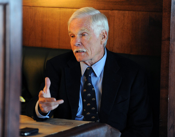"""Ted Turner talks to the Camera about the bison and prairie dog preserve.<br /> Ted Turner visited his restaurant in  Boulder on Friday to announce the start of  a buffalo ranch and receive an award.<br /> For a video and more photos of Ted Turner, go to  <a href=""""http://www.dailycamera.com"""">http://www.dailycamera.com</a>.<br /> Cliff Grassmick / October 28, 2011"""