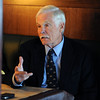 "Ted Turner talks to the Camera about the bison and prairie dog preserve.<br /> Ted Turner visited his restaurant in  Boulder on Friday to announce the start of  a buffalo ranch and receive an award.<br /> For a video and more photos of Ted Turner, go to  <a href=""http://www.dailycamera.com"">http://www.dailycamera.com</a>.<br /> Cliff Grassmick / October 28, 2011"
