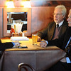 "Ted Turner, right, with George McKerrow, talks to Camera reporter, Ryan Huff, about the proposed bison preserve near Boulder.<br /> Ted Turner visited his restaurant in  Boulder on Friday to announce the start of  a buffalo ranch and receive an award.<br /> For a video and more photos of Ted Turner, go to  <a href=""http://www.dailycamera.com"">http://www.dailycamera.com</a>.<br /> Cliff Grassmick / October 28, 2011"