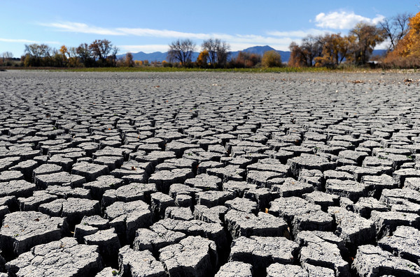 Hardened mud on Tuesday, Oct. 23, at Teller Lake 5 in Boulder. The lake was recently drained.<br />  Jeremy Papasso/ Camera