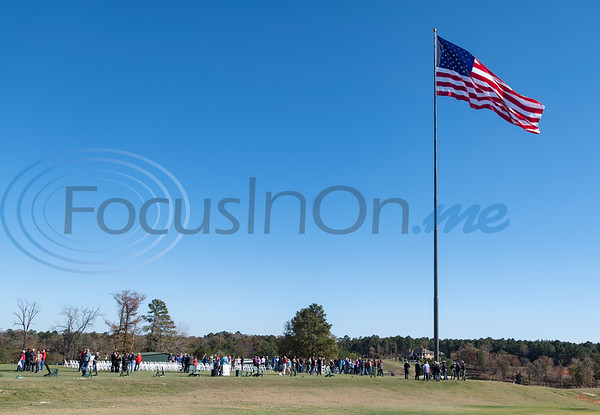 """Tempest Golf Club in Gladewater dedicated it's new monument, a 208 foot tall flagpole called """"We the People"""" and raised a large flag 90 by 180 feet wide on Veterans Day, Nov. 11, 2020."""