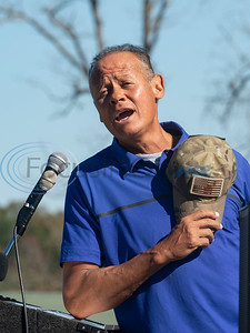Country singer Neal McCoy sings the National Anthem after leading the crowd in reciting the Pledge of Allegiance at a flag raising ceremony at Tempest Golf Club outside of Gladewater on Veterans Day, Nov. 11, 2020. Beside his fame for his music, McCoy is known for saying the Pledge of Allegiance every day and sharing videos of the pledge to social media.