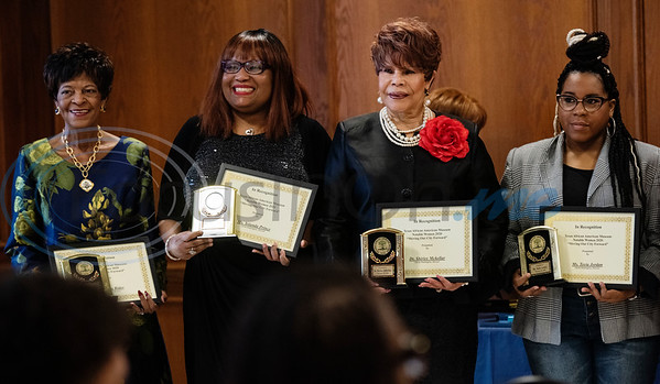 Honorees Veretta Rider, Yolanda Prince, Dr. Shirley McKellar and LaToyia Sessions-Jordan are recognized at the Texas African American Museum (TAAM) 2020 Notable African American Women program at the Rose Garden Center in Tyler on Tuesday, Feb. 18, 2020. Texas African American Museum is located in Tyler at 3000 N. Border Ave.   (Sarah A. Miller/Tyler Morning Telegraph)