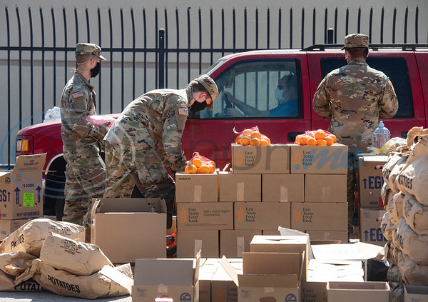 In response to COVID-19, 34 Texas Army National Guardsmen have been deployed to the East Texas Food Bank to ensure that the agency can continue to safely meet the need for food assistance in its 26-county coverage area. The deployment comes after the Smith County Emergency Operations Center submitted a STAR request for the guardsmen to support ETFB with its production, distribution and transportation tasks through May.