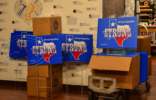 One hundred and forty Texas Strong, Pray Together signs stand ready to be distributed by Jacksonville sign company iSignShop on Wednesday, April 15. The company is giving the signs, free of charge, to businesses and residents as a way to bring solidarity to the community in the midst of the Coronavirus pandemic.