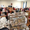 BEN GARVER — THE BERKSHIRE EAGLE<br /> Volunteers for the Thanksgiving Angels prepare to hand out about 1400 Thanksgiving meals to families in need, Monday, November 25, 2019. 380 volunteers are needed to distribute the food and deliver it to people who cannot make the trip. 1376 loaves of bread were baked by volunteers in the months before the distribution of food.