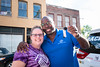 Jason Woods, from the corporate office of the Boys and Girls Club in Atlanta, stands with Jes Wright, Unit Director at the Boys and Girls Club of Brattleboro, showing off the keys to the new van which the local club won, along with $25,000 and school supplies, through a grant competition.  Only three were awarded throughout the country; KELLY FLETCHER, REFORMER CORRESPONDENT