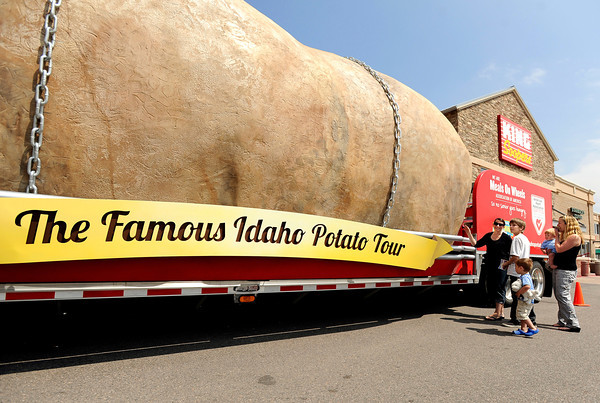 "Tessa Hassler, left, Zack Hassler, 12, Aiden Knott, 3, Jameson Knott, 1, and Lauren Knott look at the giant potato during The Famous Idaho Potato Tour on Wednesday, April 11, at the King Soopers shopping center on 136th Avenue in Broomfield. For a video about the giant potato truck go to  <a href=""http://www.dailycamera.com"">http://www.dailycamera.com</a><br /> Jeremy Papasso/ Camera"
