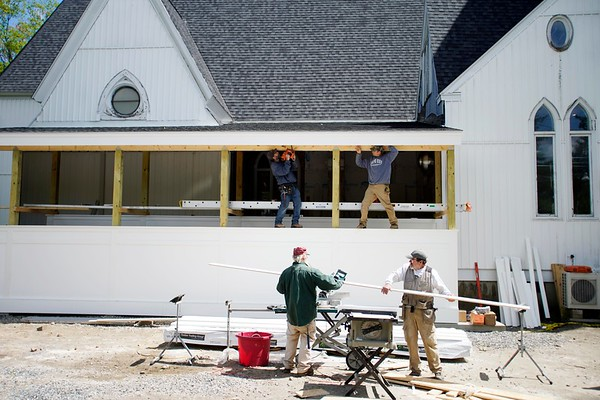 BEN GARVER — THE BERKSHIRE EAGLE<br /> The Guthrie Center in Great Barrington Is getting ready for a new season with some improvements to the facility, Tuesday, May 21, 2019.  Toriano and Sons Construction is building a new handicaped accessible entrance to the venue and programs start this week.