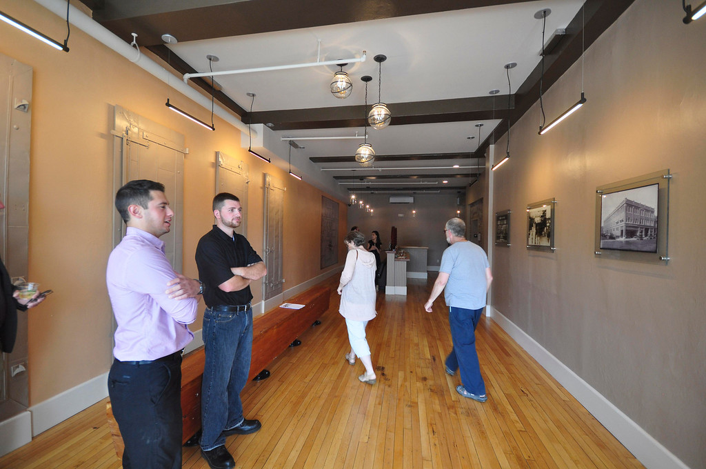. Inside the community lobby to entrance to The Howard: High-End Retail and Residential on Federal Street during an open house on Sunday, June, 15, 2014. Gillian Jones / Berkshire Eagle Staff / photos.berkshireeagle.com